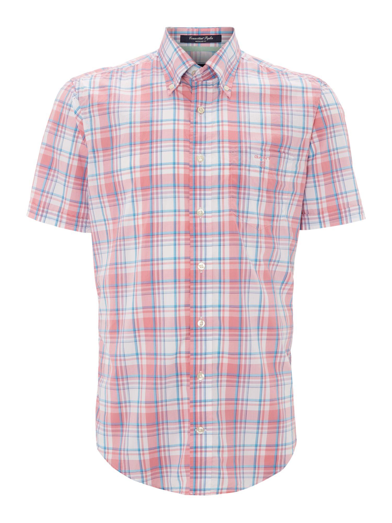 Gant Short Sleeve Poplin Check Shirt In Pink For Men