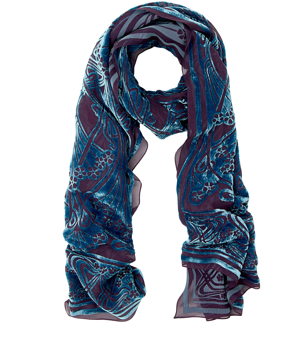 liberty turquoise ianthe devore scarf in blue lyst