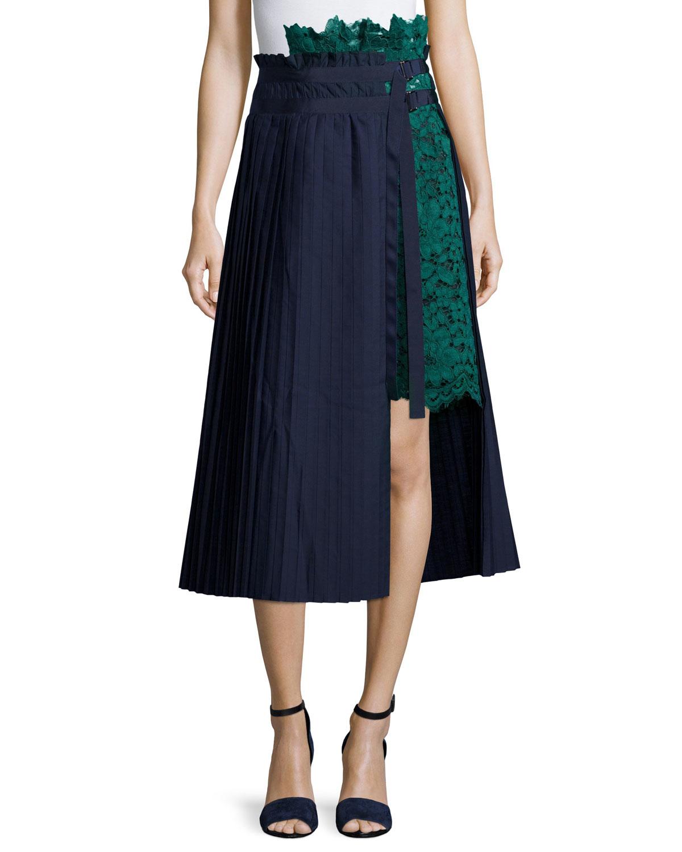 a8e26c8987 Sacai Asymmetric Pleated Lace Combo Midi Skirt in Green - Lyst