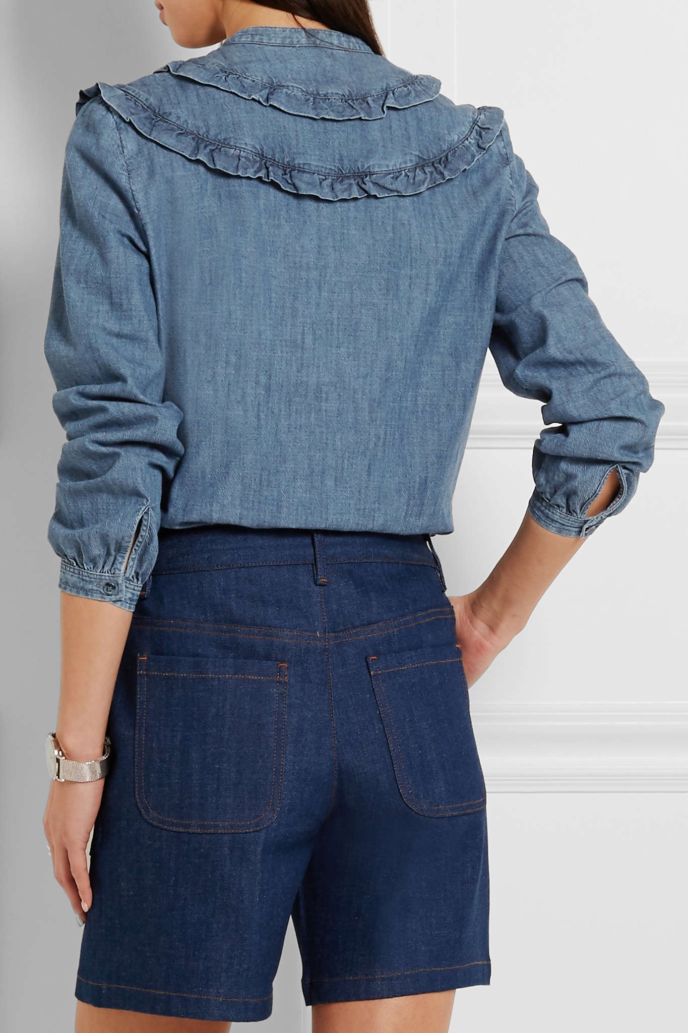 A P C Stevy Ruffle Trimmed Cotton Chambray Shirt In Blue