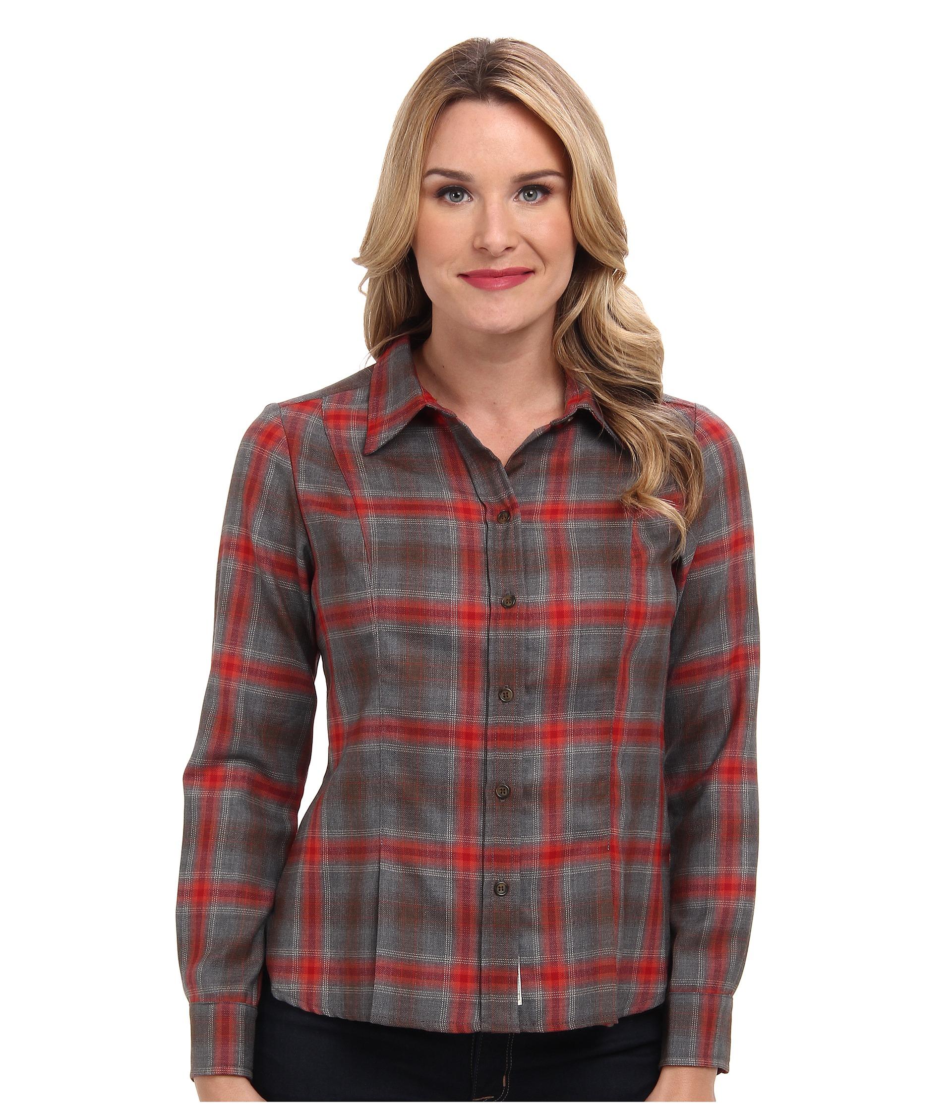 Pendleton ponderosa plaid shirt in gray lyst for Grey plaid shirt womens