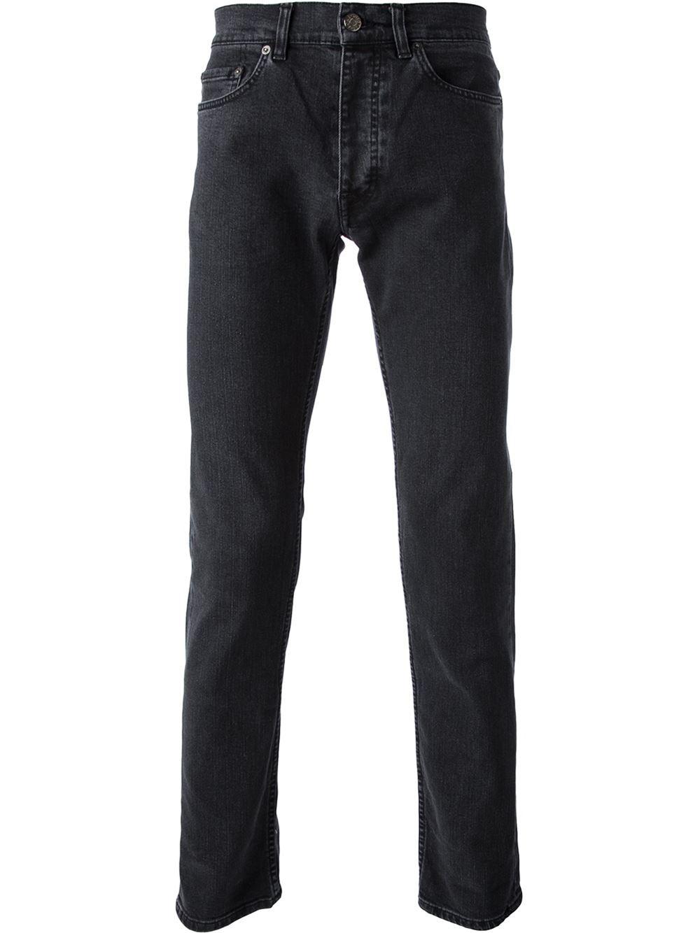 Acne Straight Leg Jeans in Black for Men | Lyst