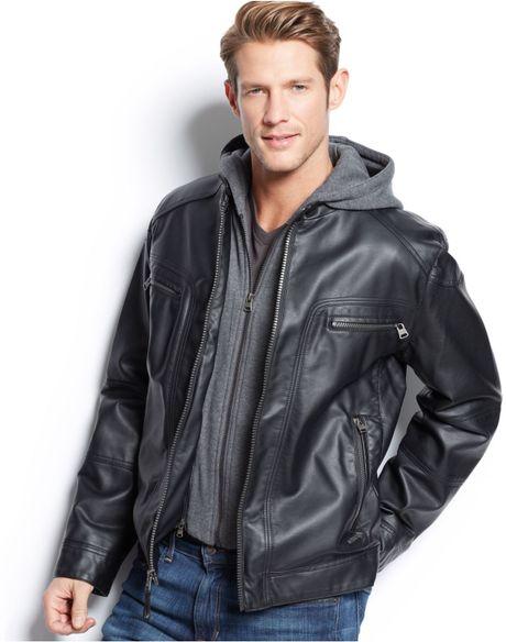calvin klein men's faux leather hooded jacket
