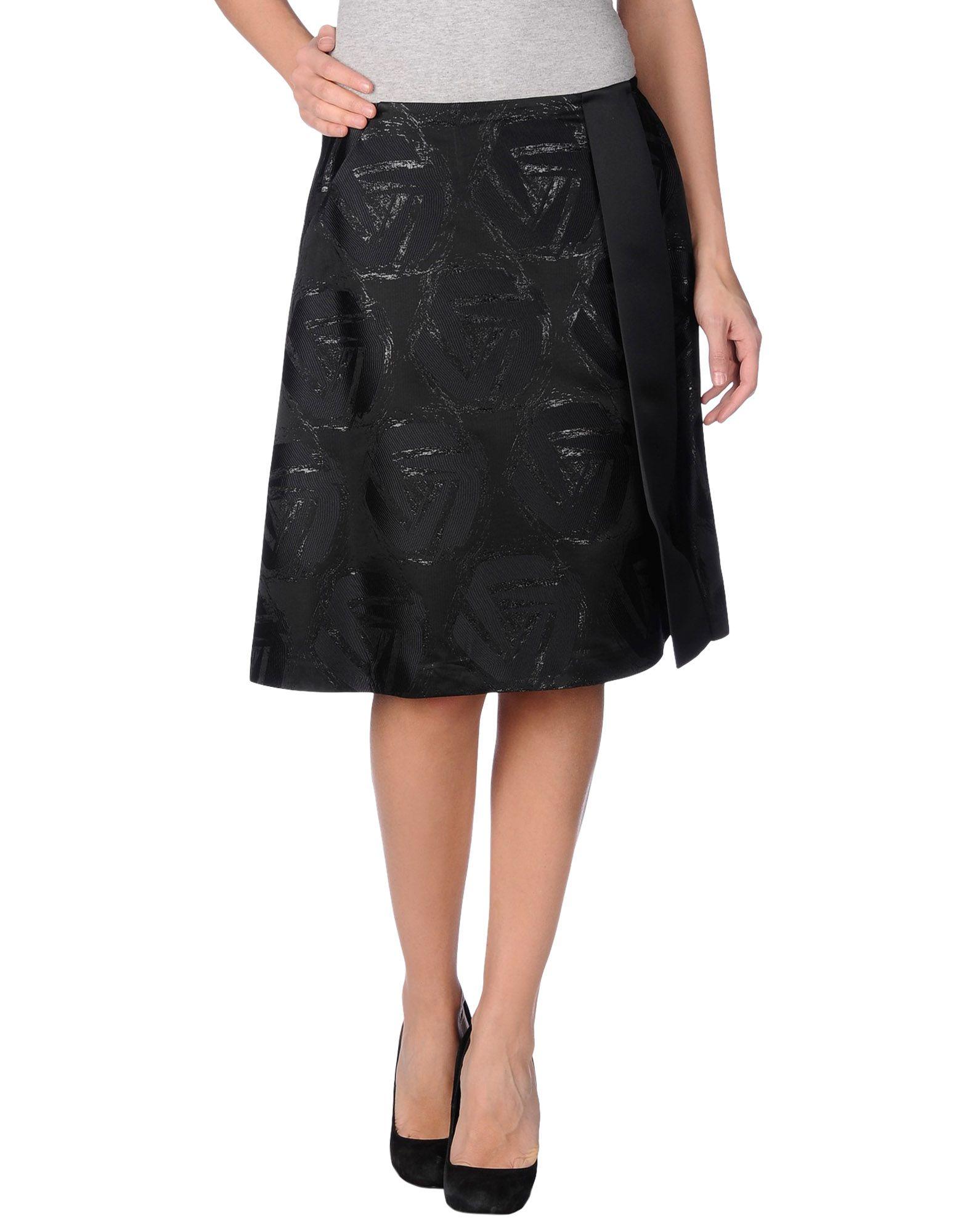 jil sander navy knee length skirt in black lyst