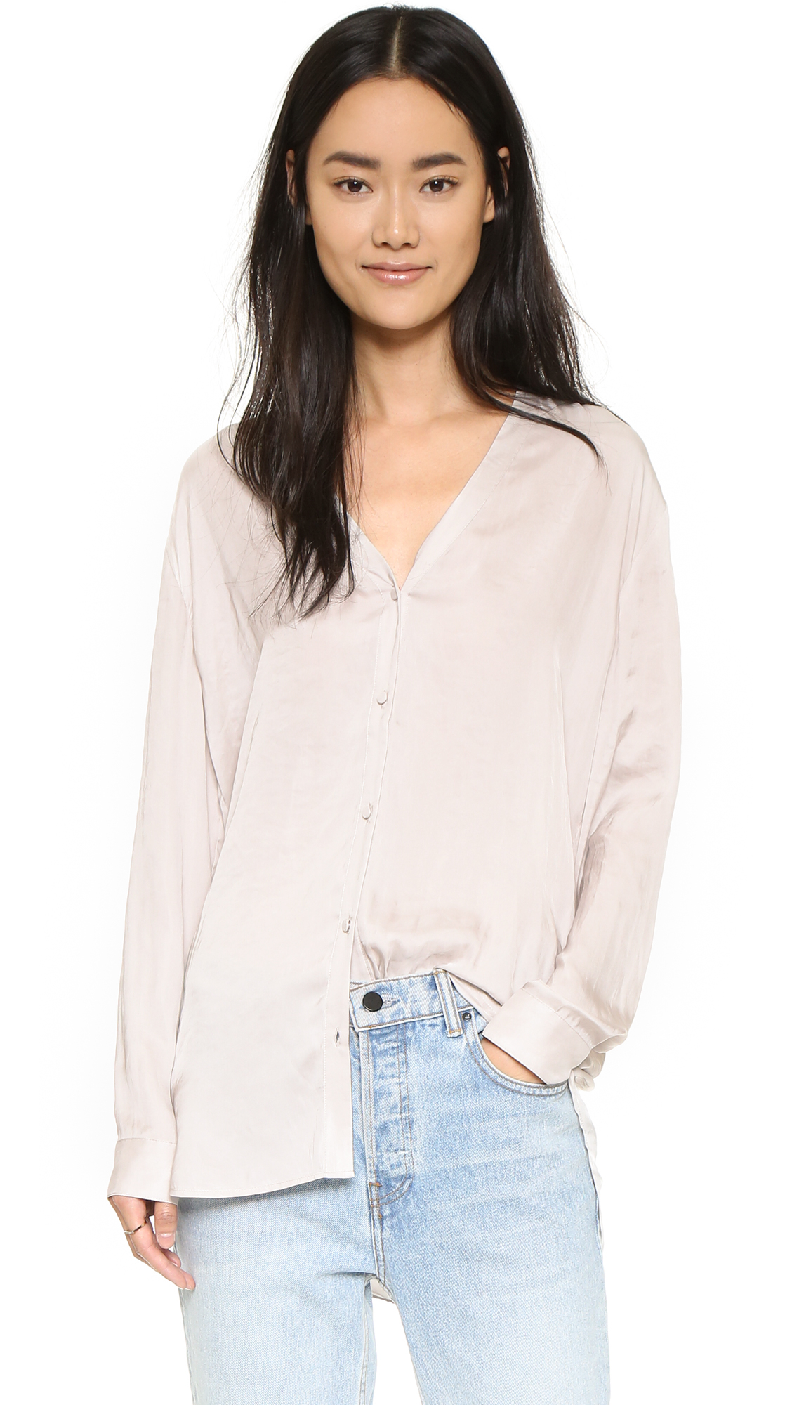 Atm shawl collar shirt in white lyst for Shawl collar t shirt