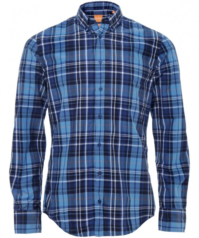 Boss Orange Edipoe Large Check Shirt In Blue For Men Lyst