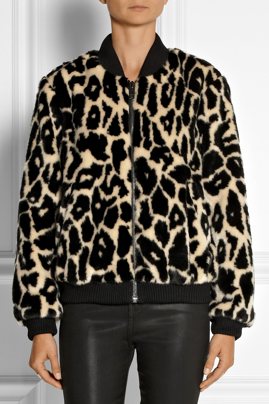 d1bed1c5a DKNY Leopard-Print Faux Fur Bomber Jacket in Black - Lyst