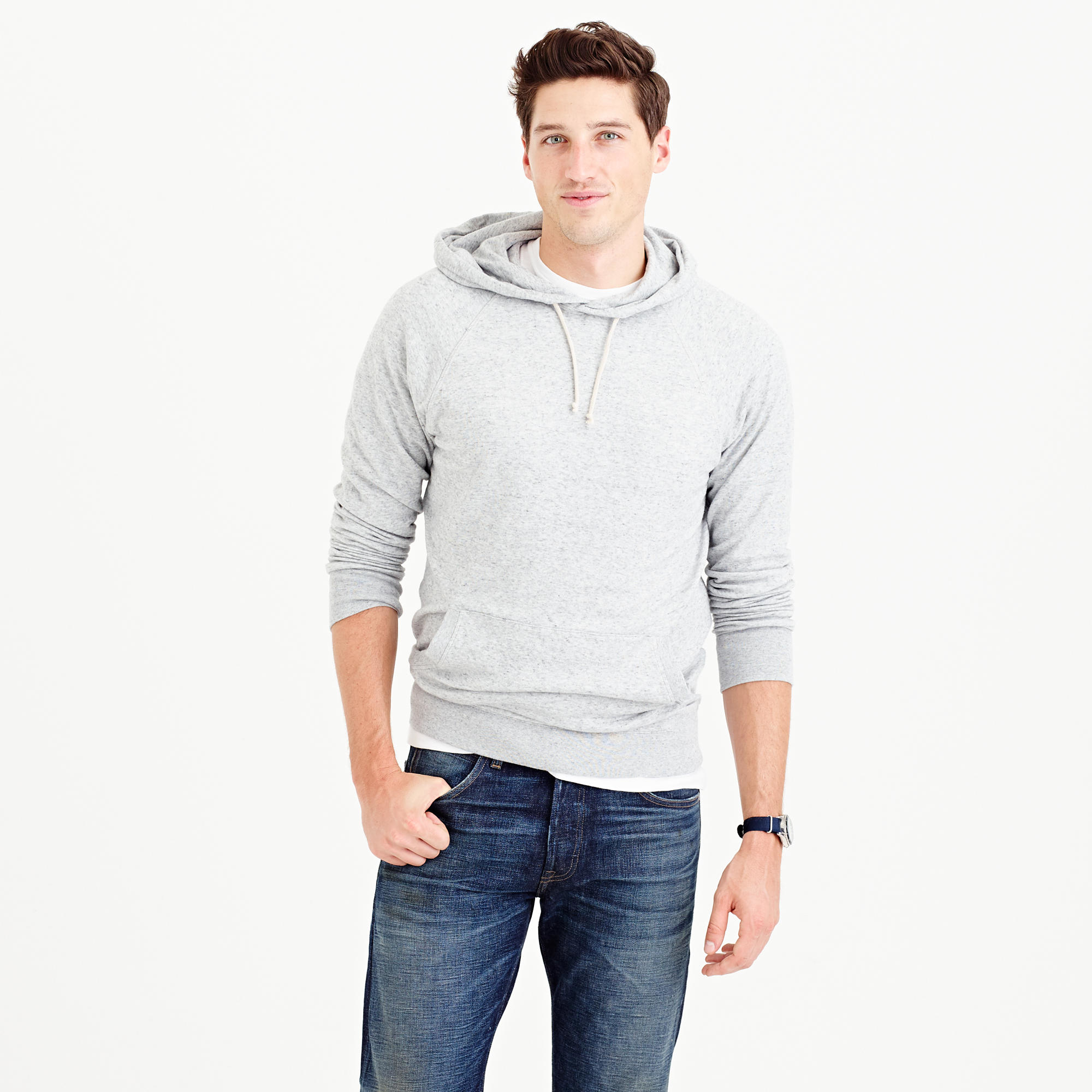 J.crew Double-knit Pullover Hoodie in Natural for Men | Lyst