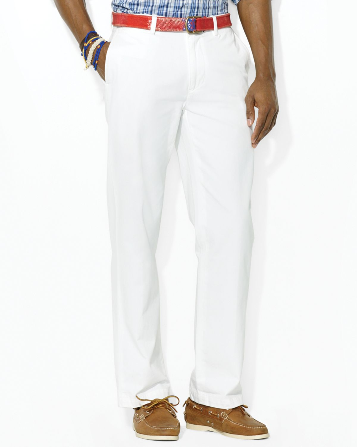 Lauren Men White Fit Classic Flat Pants Chino For Ralph Front Polo exCdoB