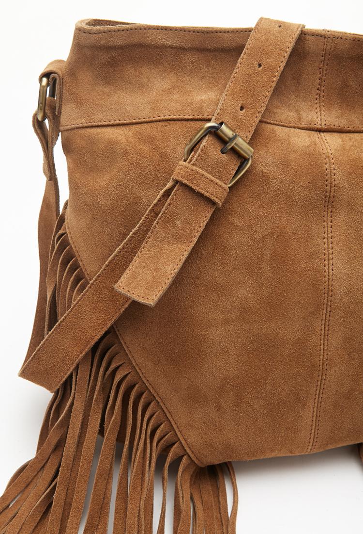 Forever 21 Fringed Suede Shoulder Bag in Brown | Lyst