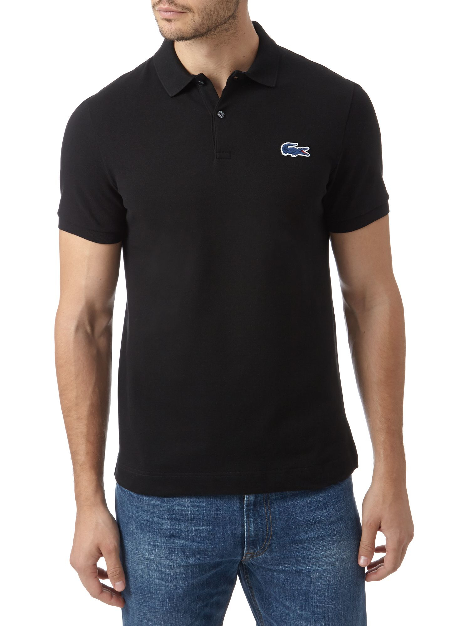 lacoste slim fit l ve polo shirt in black for men black. Black Bedroom Furniture Sets. Home Design Ideas