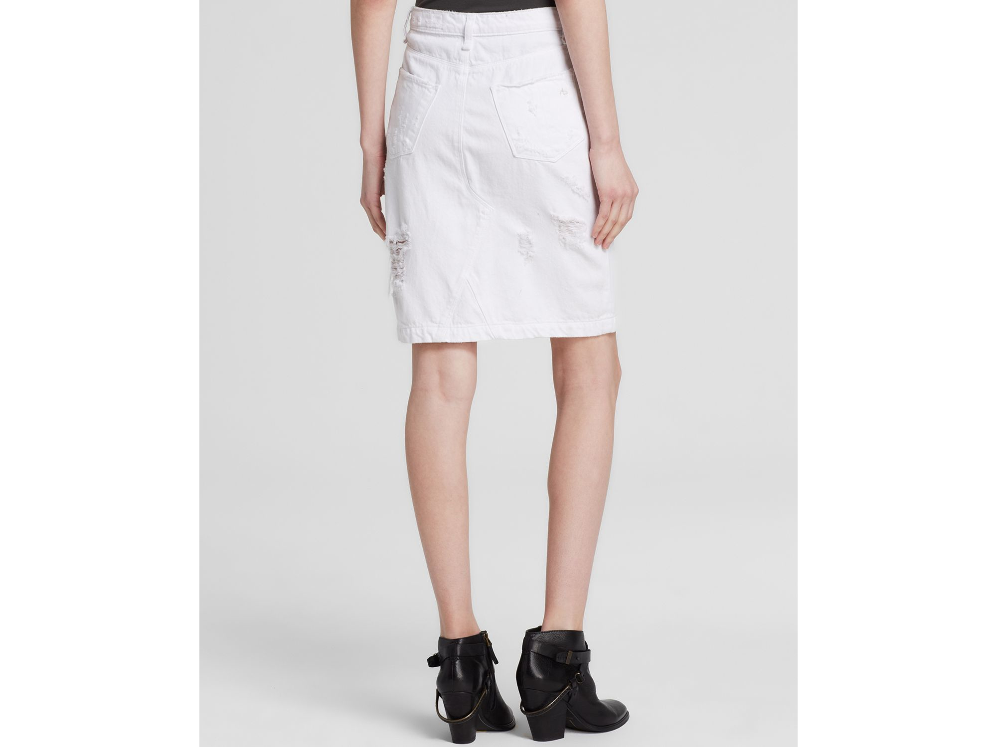 rag bone skirt denim in shredded white in white lyst