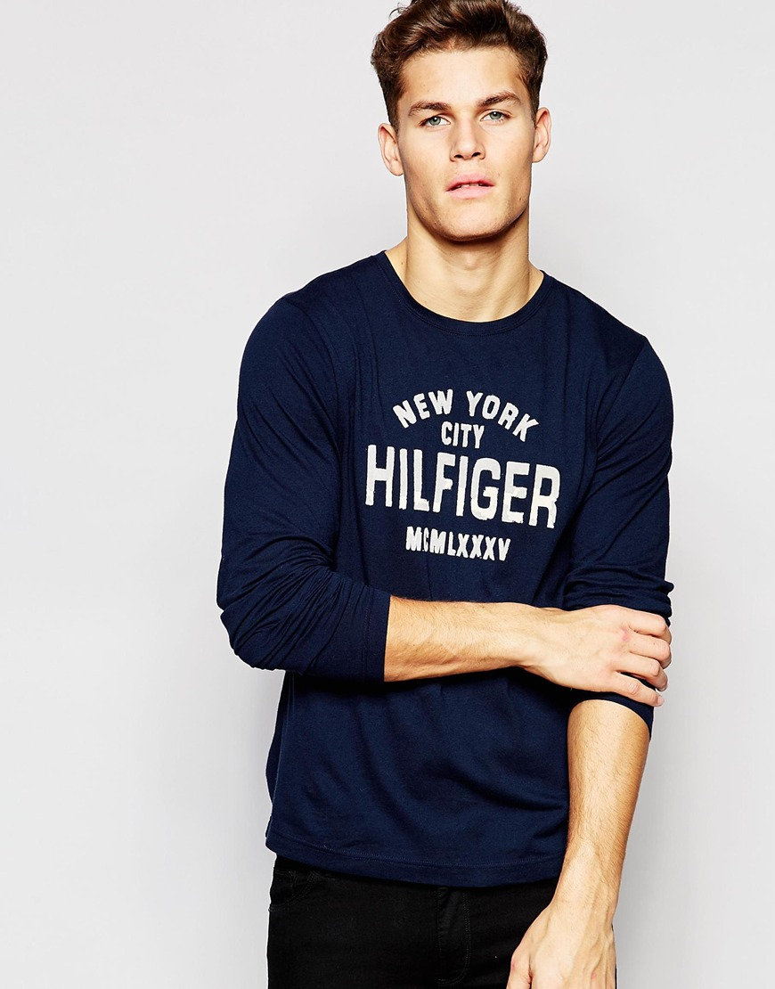 9456ac35 Tommy Hilfiger Long Sleeve T-shirt With New York Print In Navy in ...