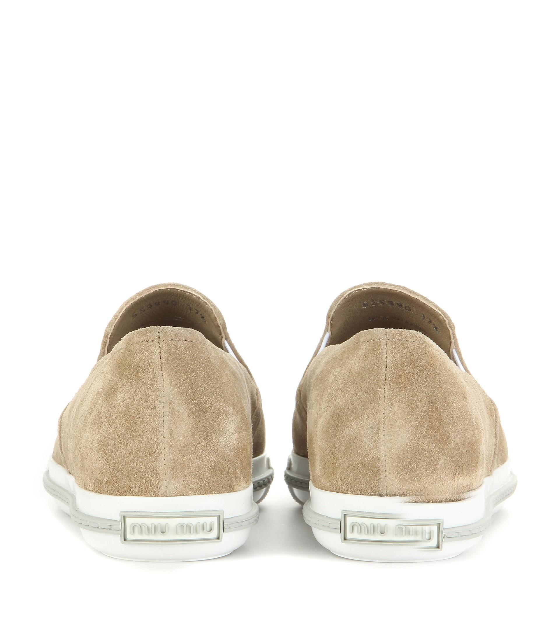 Miu Miu Embellished Suede Slip-on Sneakers in Natural