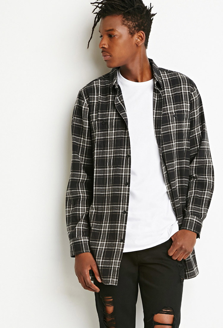 Lyst forever 21 zippered flannel shirt in black for men for How to wear men s flannel shirts