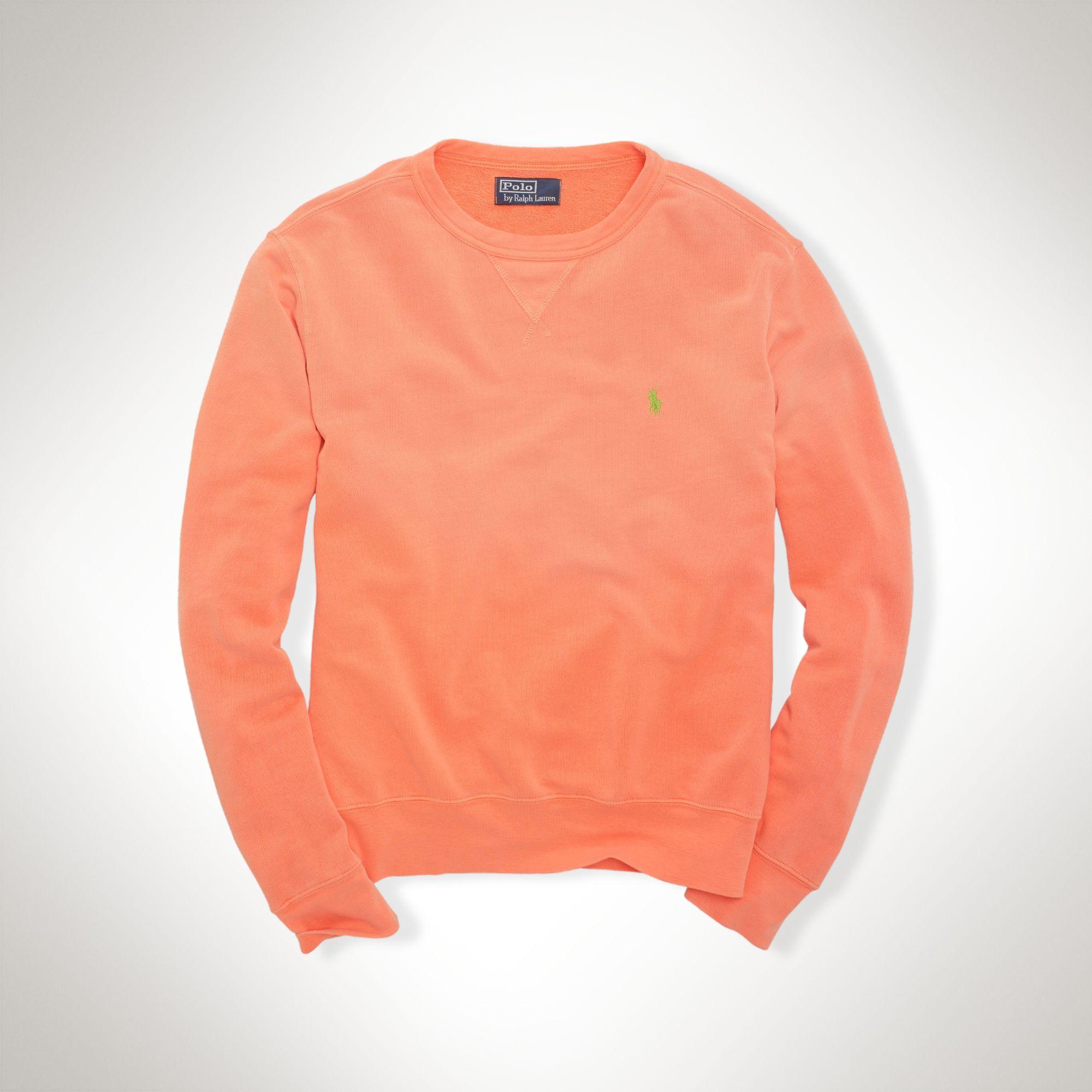 3f33a7bc4 ... clearance polo ralph lauren atlantic terry crew sweatshirt in orange  for men 7ec47 14c27