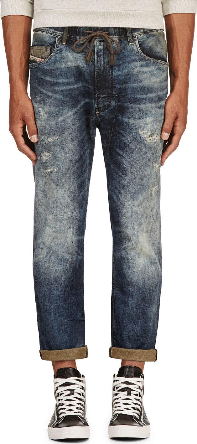 diesel blue distressed narrot ne jogg jeans in blue for. Black Bedroom Furniture Sets. Home Design Ideas