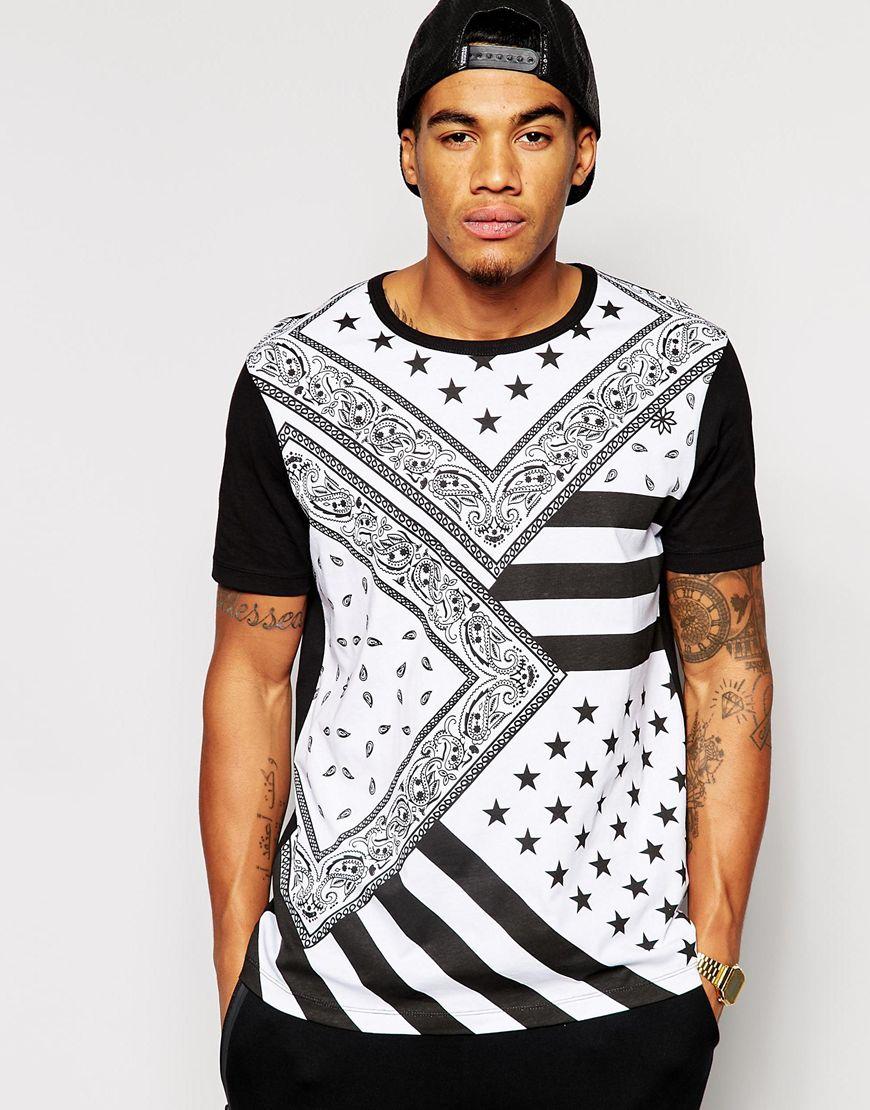 asos t shirt with all over flag bandana print in black for. Black Bedroom Furniture Sets. Home Design Ideas