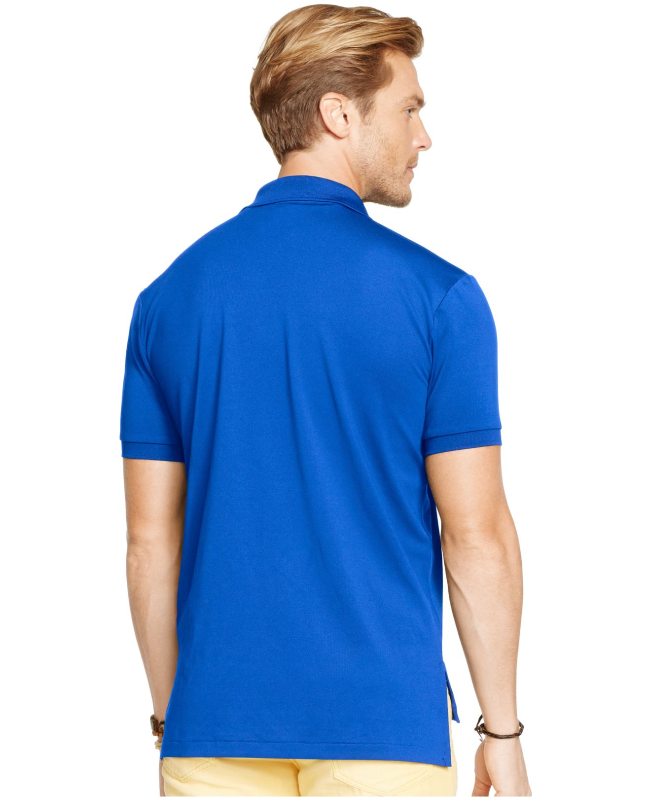 lyst polo ralph lauren performance mesh polo shirt in blue for men. Black Bedroom Furniture Sets. Home Design Ideas