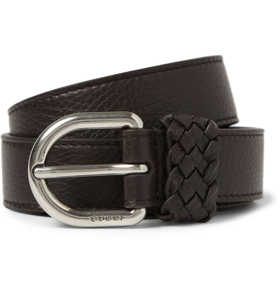 gucci fullgrain leather belt in brown for lyst