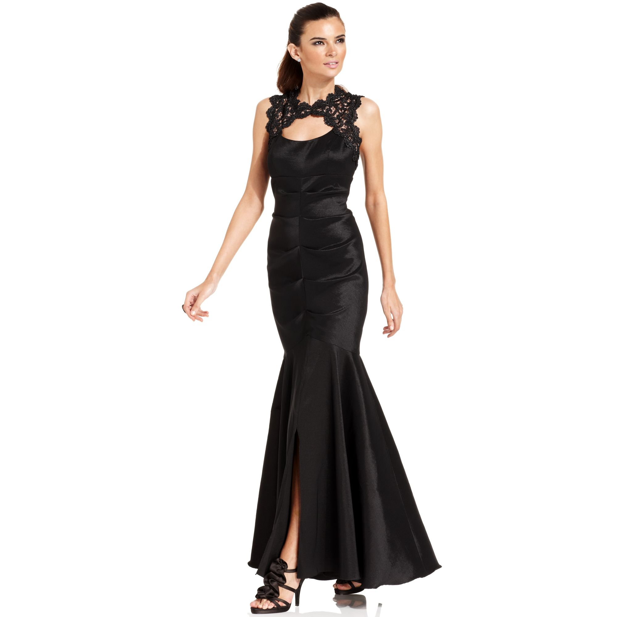 Xscape Petite Sleeveless Glitter-lace Mermaid Gown In