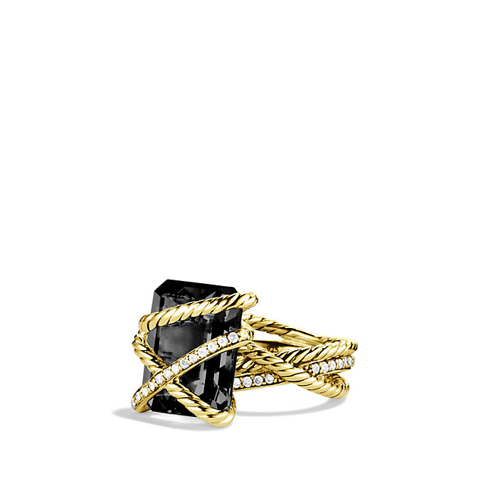 David Yurman Cable Wrap Ring With Black Onyx And Diamonds