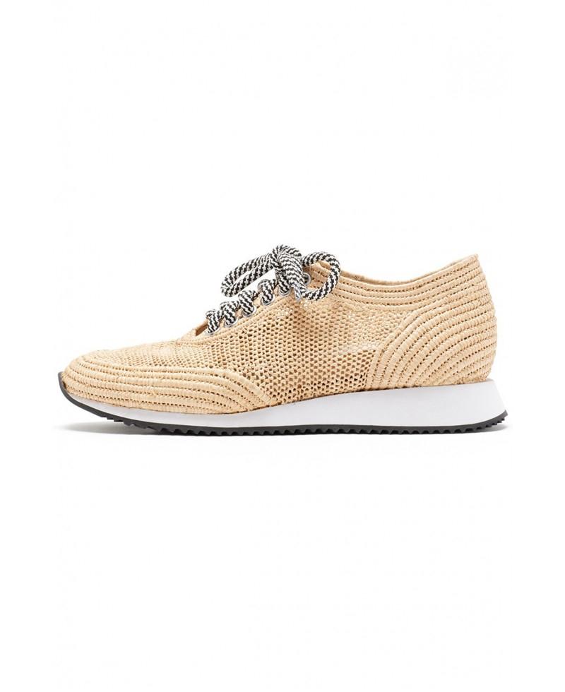 Loeffler Randall Roxie Knit Raffia Sneaker in Natural