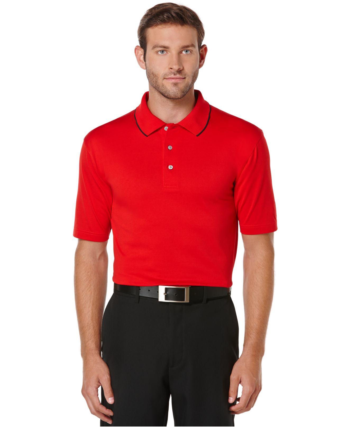 pga tour solid cotton golf polo in red for men