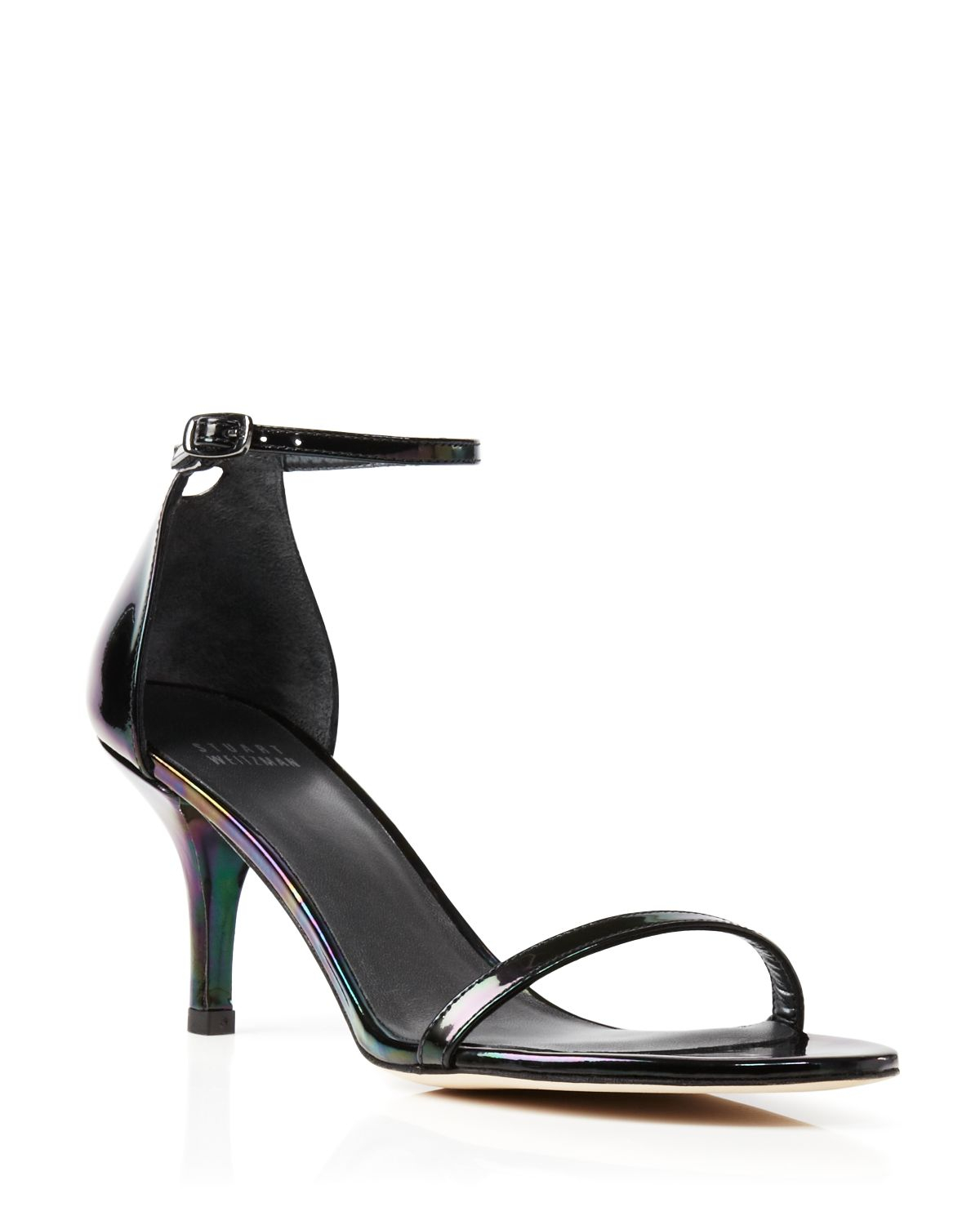 5f8e1f2b318 Lyst - Stuart Weitzman Ankle Strap Sandals - Naked Mid Heel in Black