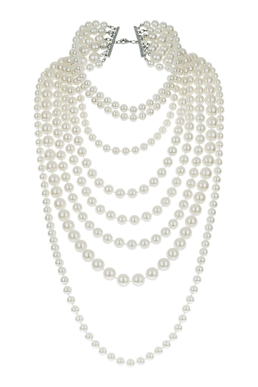181751eda9ebf TOPSHOP White Multi Row Pearl Necklace