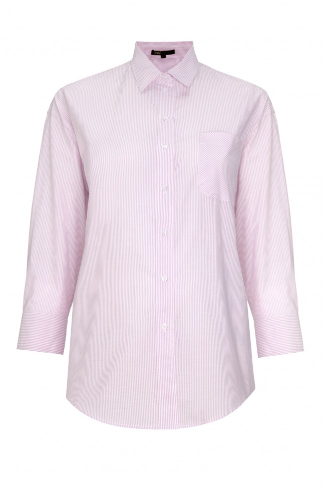 Lyst Maje Striped Button Down Shirt In Pink
