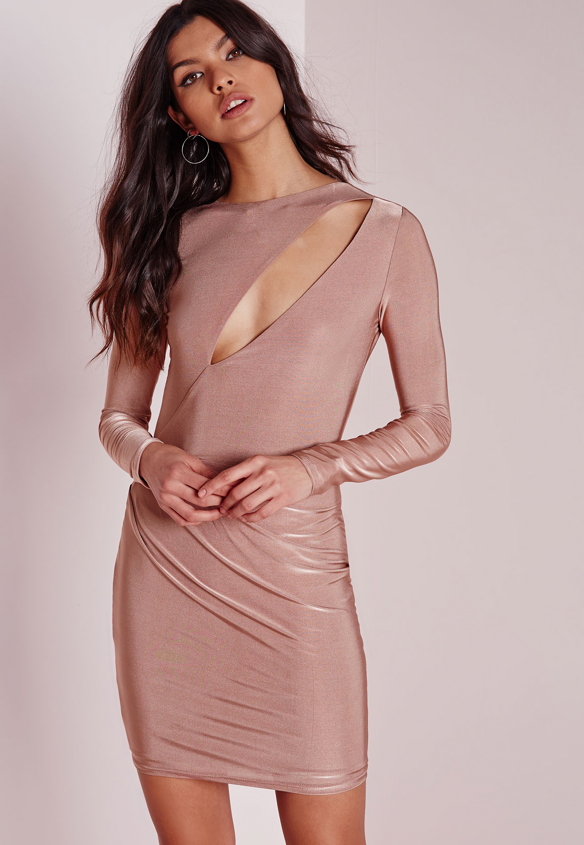0c63491b7f Lyst - Missguided Slinky Long Sleeve Bodycon Dress Rose Pink in Natural