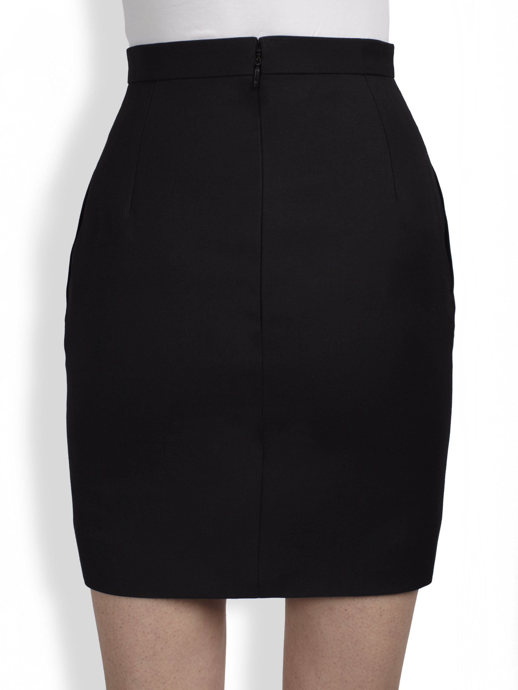 Saint laurent Mini Pencil Skirt in Black | Lyst