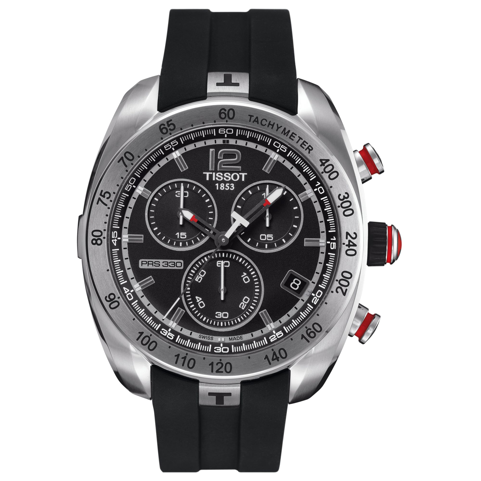 Tissot Mens Swiss Automatic Chronograph Prs330 Black Rubber Strap