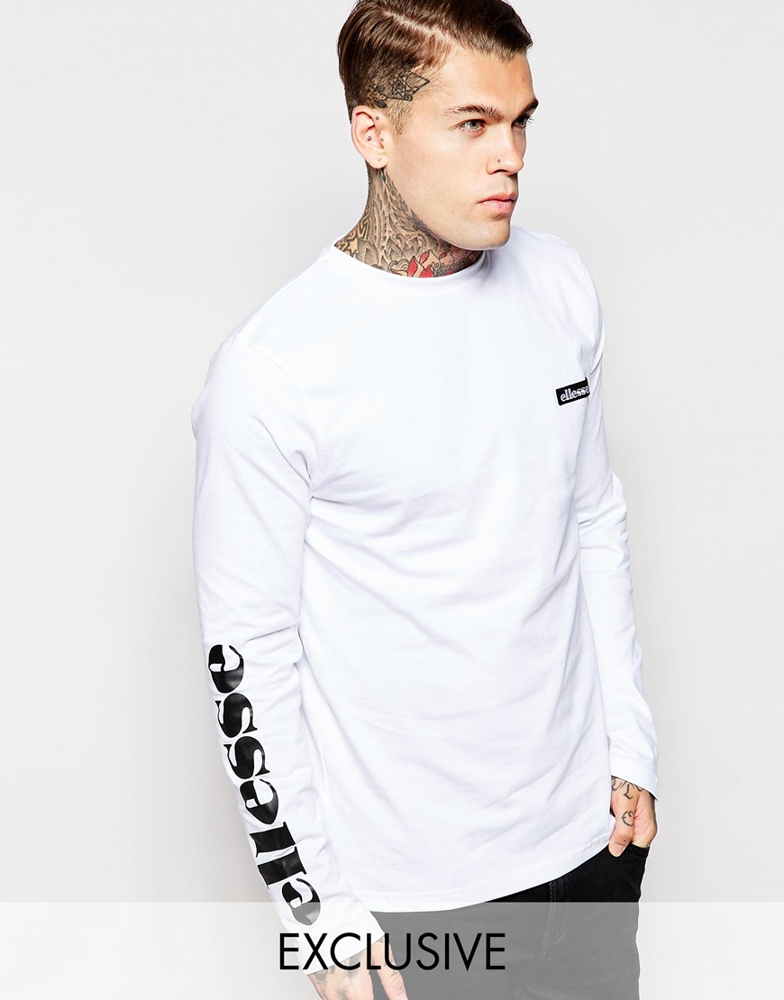 Lyst ellesse long sleeve t shirt with sleeve print in for Long sleeve printed t shirts