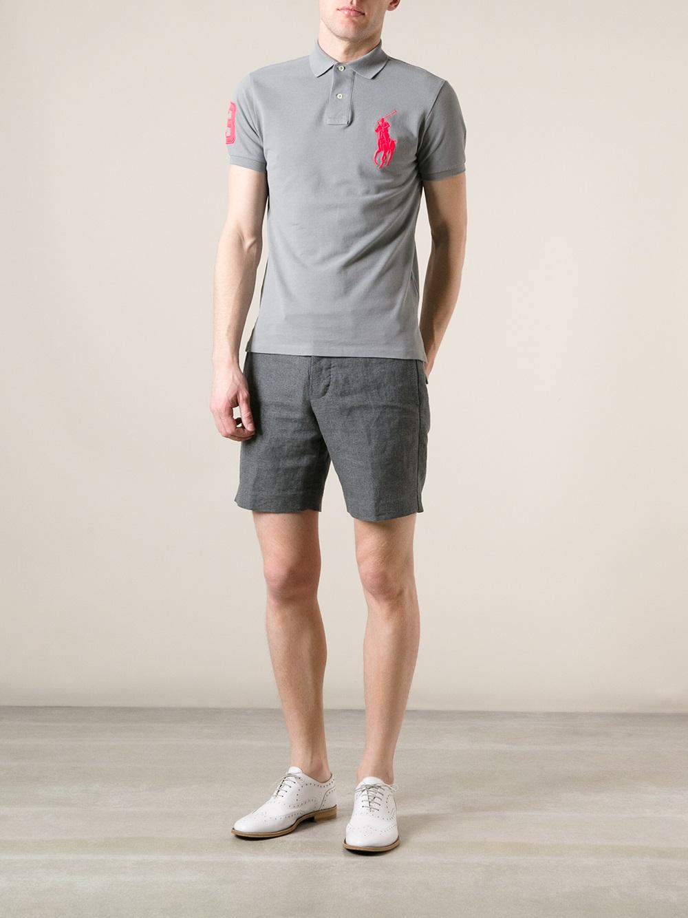 Lyst Polo Ralph Lauren Logo Polo Shirt In Gray For Men