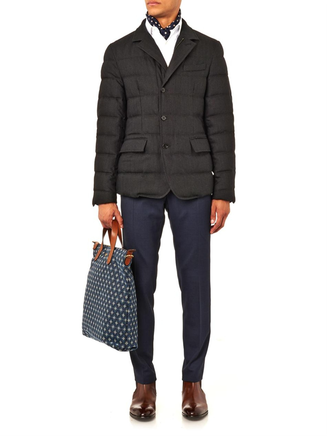Lyst Dolce Gabbana Quilted Wool Blend Jacket In Gray