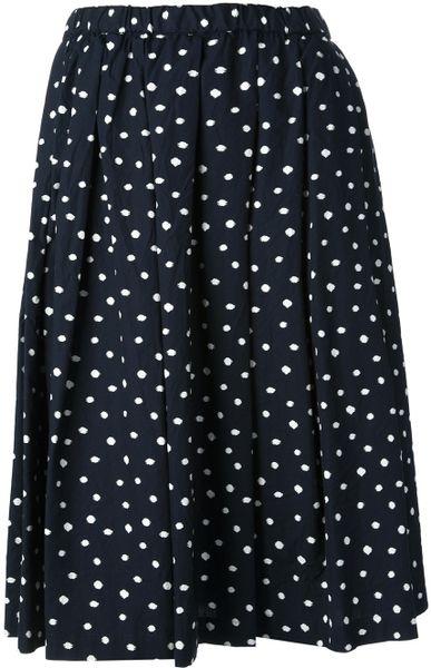 comme des gar 231 ons polka dot skirt in blue lyst