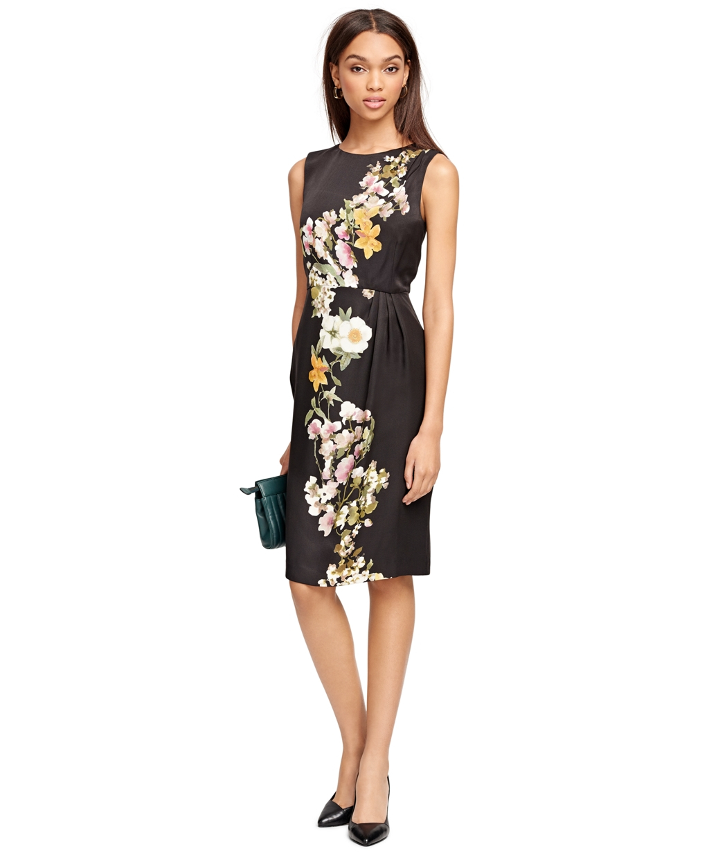 Lyst brooks brothers cotton floral dress in black gallery ombrellifo Image collections