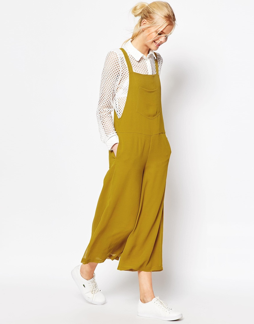 1f14deefc5f0 ASOS Pinafore Jumpsuit With Culotte Leg - Yellow in Yellow - Lyst