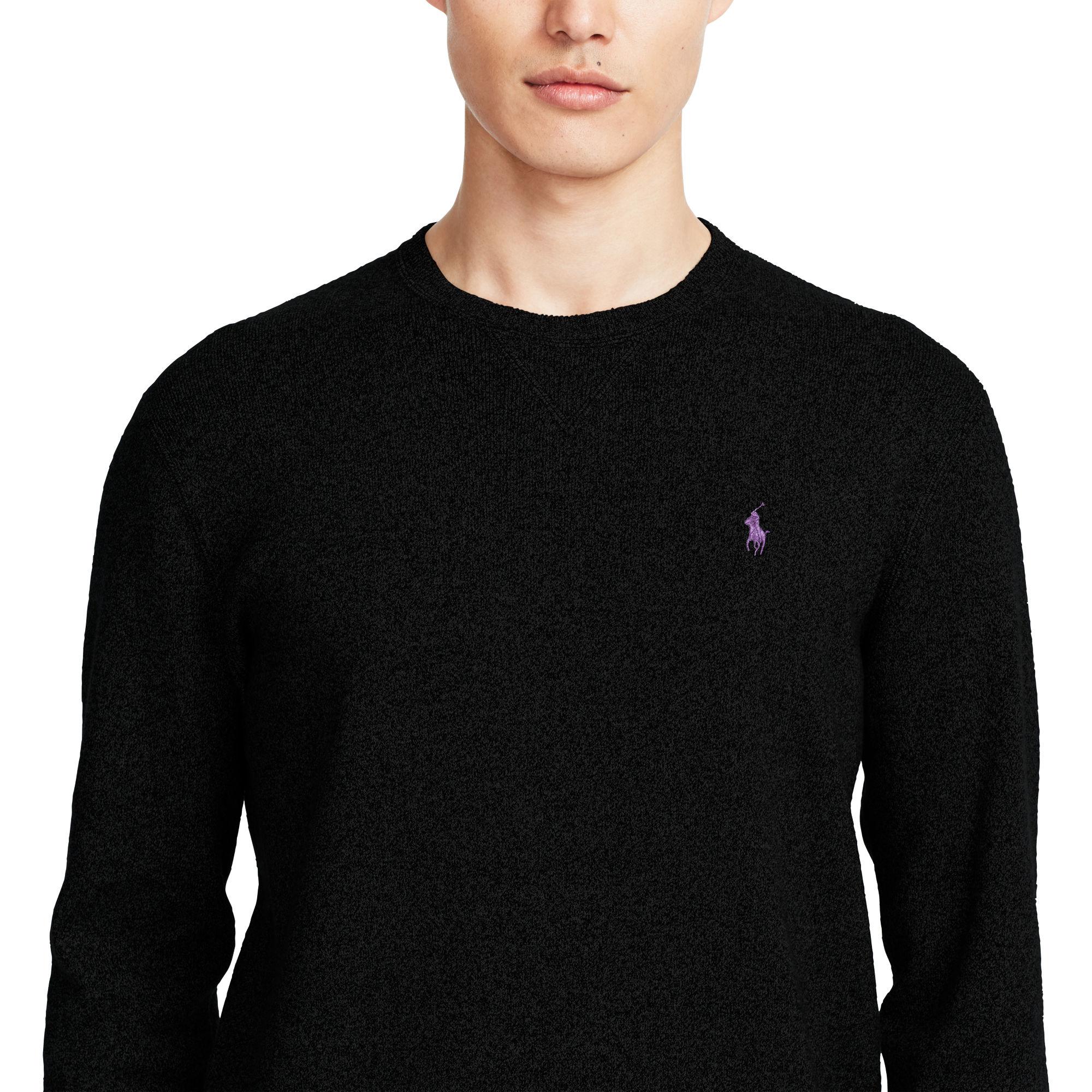 Cotton Lauren For Crewneck Polo Men Ralph Black Sweater 1FKJTc3l