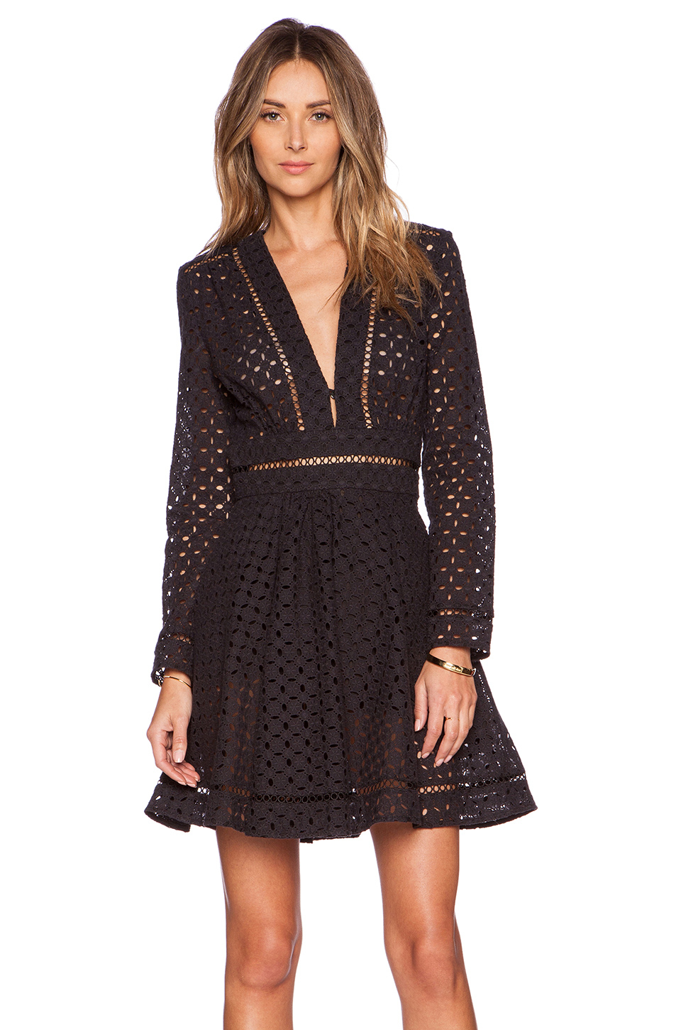 Zimmermann Ryker Broderie Dress In Black Lyst