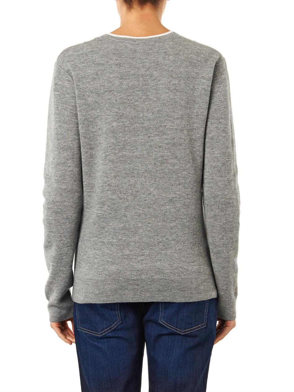 Circle Sweater: Richard Nicoll Circle Intarsiaknit Sweater In Gray