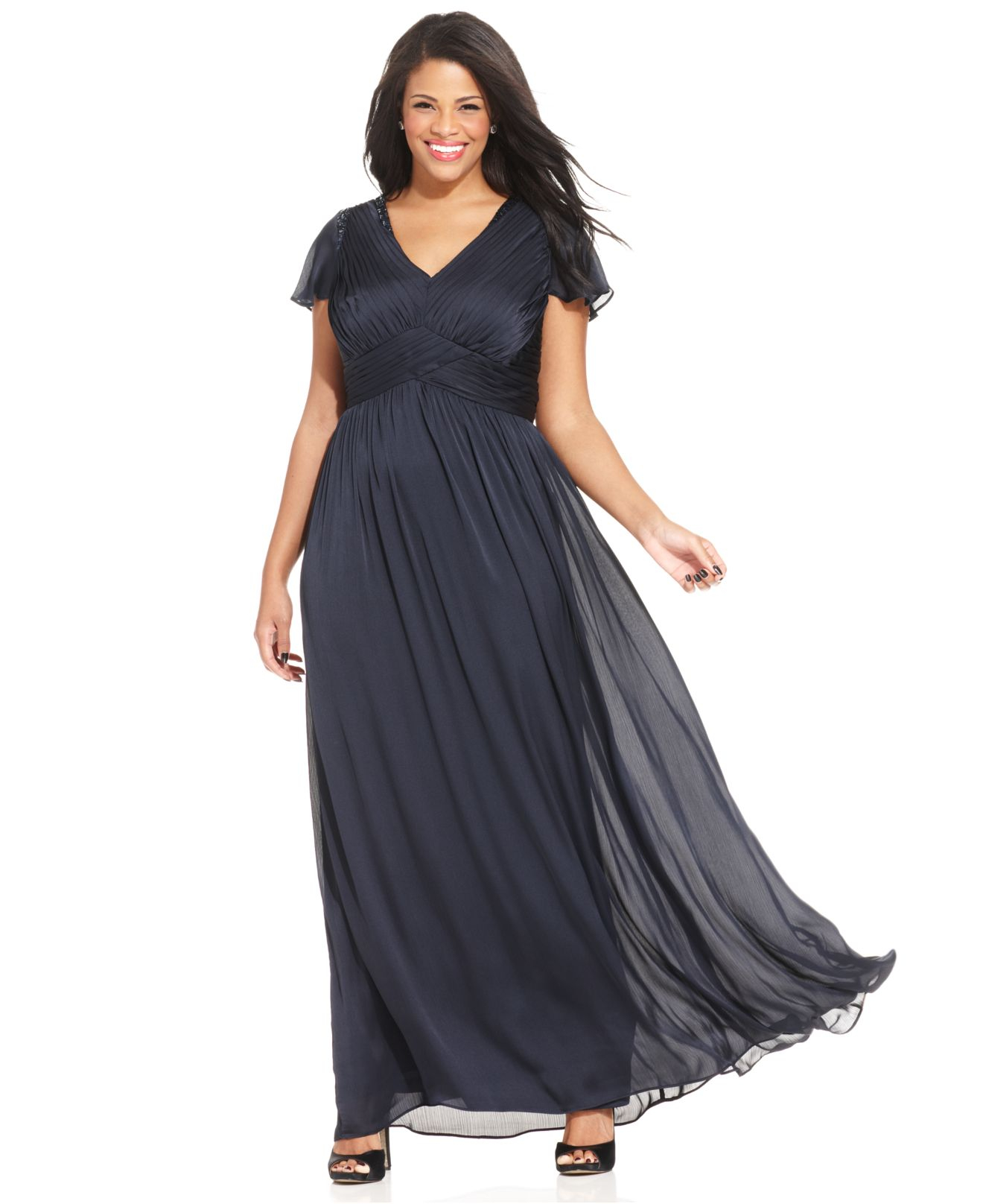 Adrianna Papell Plus Size Flutter-sleeve Pleated Gown in Blue - Lyst