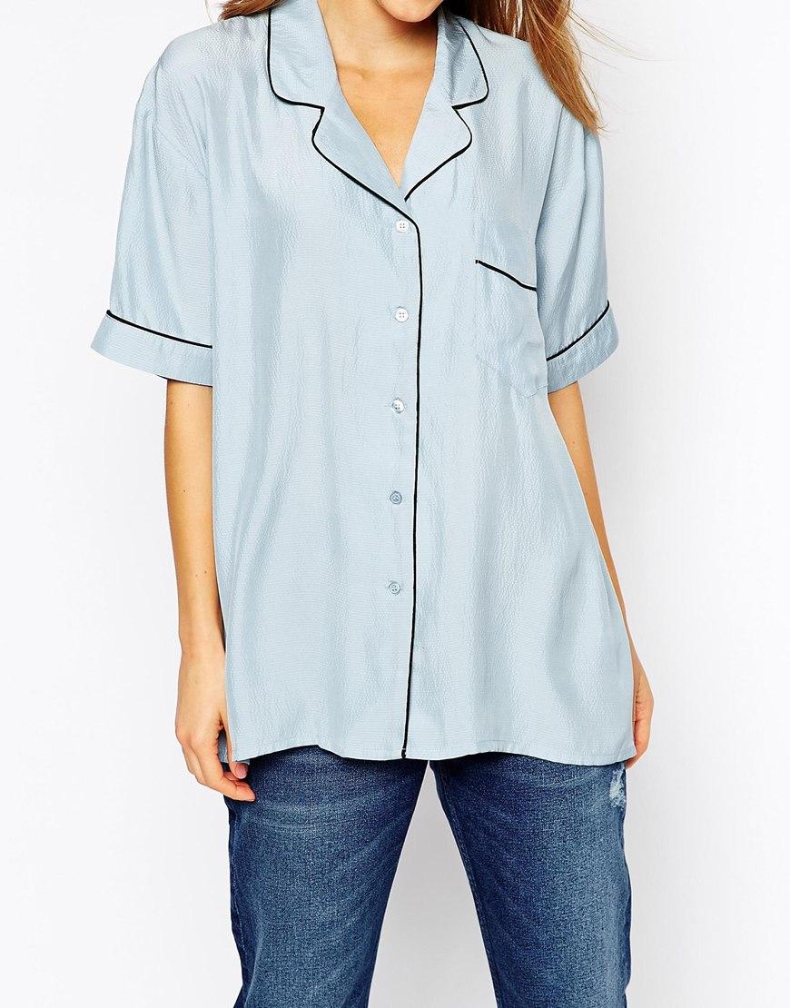 Ganni Seersucker Silk Short Sleeve Shirt In Blue Lyst