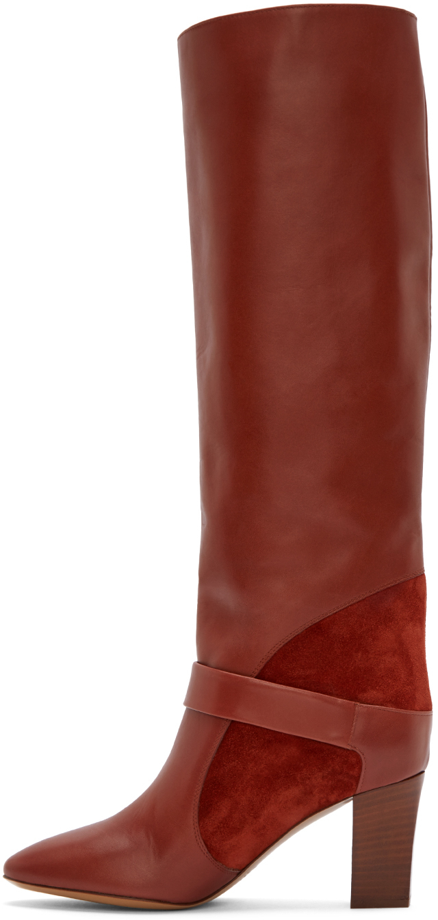 chloe marcie bag replica - Chlo�� Rust Leather And Suede Tall Boots in Brown (rust) | Lyst