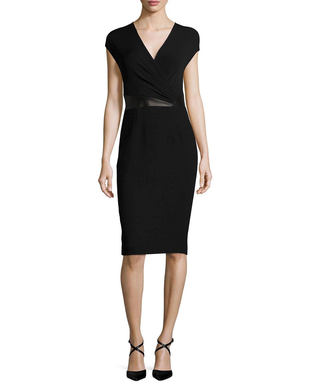 Michael kors Cap-sleeve Faux-wrap Sheath Dress in Black | Lyst