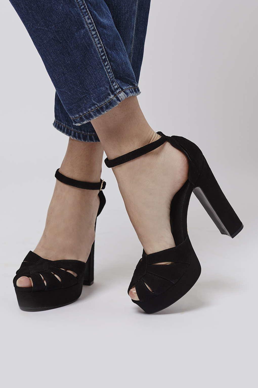 Topshop Sienna Peep-toe Platform Shoes in Black | Lyst
