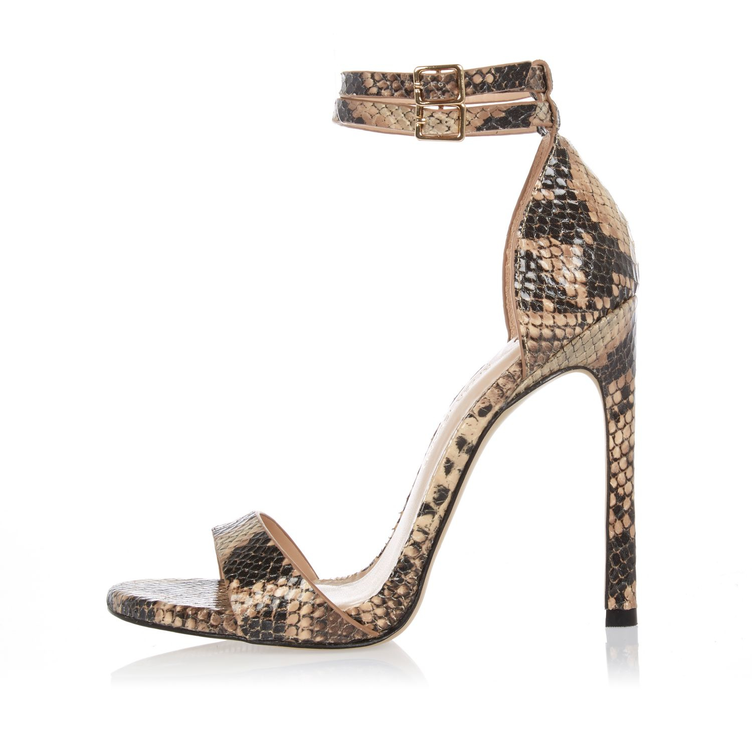 River Island Brown Snake Print Barely There Heeled Sandals