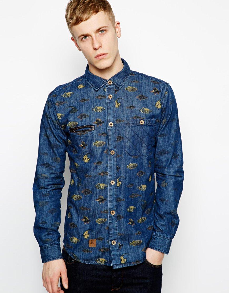 Anerkjendt denim shirt with fish print in blue for men lyst for Fish print shirt